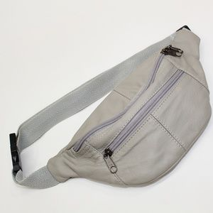 Vintage Genuine Leather Gray Fanny Pack